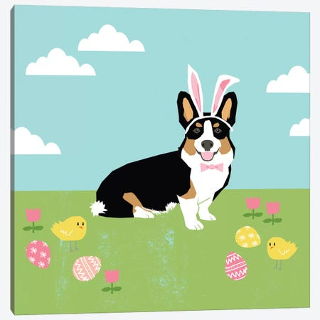 Corgi Tricolored Easter Canvas Print #PET100} by Pet Friendly Art Print