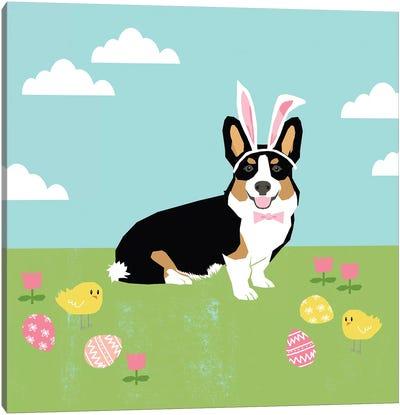 Corgi Tricolored Easter Canvas Art Print