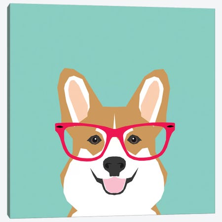 Corgi Glasses Canvas Print #PET101} by Pet Friendly Canvas Art Print