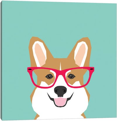 Corgi Glasses Canvas Art Print