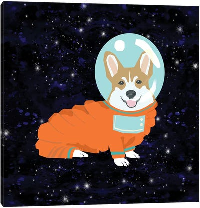 Corgi Tan Spacedog Canvas Art Print