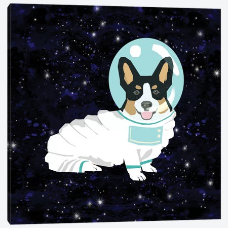 Corgi Tricolored Spacedog Canvas Print #PET105} by Pet Friendly Canvas Wall Art