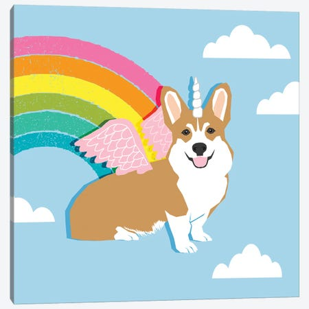 Corgi Unicorn Canvas Print #PET106} by Pet Friendly Canvas Wall Art