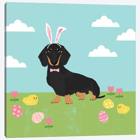 Dachshund Black And Tan Easter  Canvas Print #PET107} by Pet Friendly Canvas Artwork