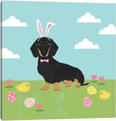Dachshund Black And Tan Easter  Canvas Art Print