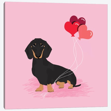 Dachshund Black And Tan Love Balloons  Canvas Print #PET108} by Pet Friendly Art Print