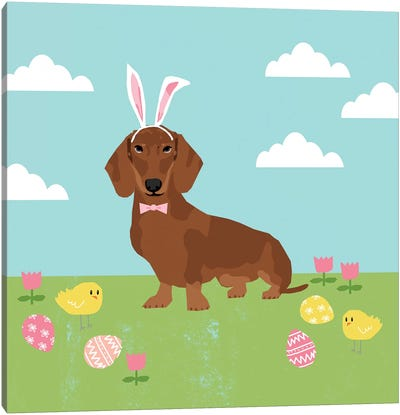 Dachshund Red Easter  Canvas Art Print