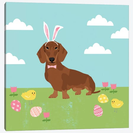 Dachshund Red Easter  Canvas Print #PET110} by Pet Friendly Canvas Artwork