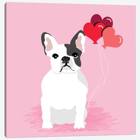 French Bulldog Love Balloons Canvas Print #PET111} by Pet Friendly Canvas Artwork
