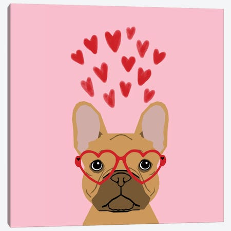 French Bulldog Love Glasses Canvas Print #PET112} by Pet Friendly Canvas Art