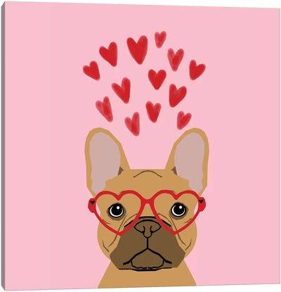 French Bulldog Love Glasses Canvas Art Print