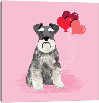 Schnauzer Love Balloons Canvas Art Print