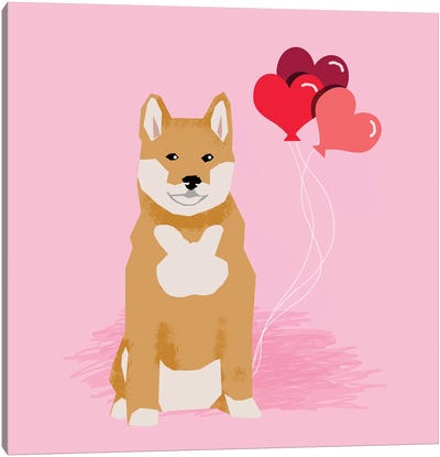 Shiba Inu Love Balloons Canvas Art Print