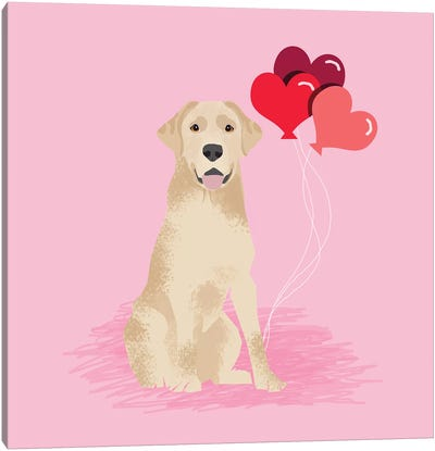 Yellow Lab Love Balloons Canvas Art Print