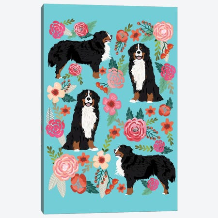 Bernese Mountain Dog Floral Collage Canvas Print #PET11} by Pet Friendly Canvas Artwork