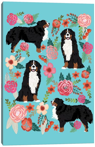 Bernese Mountain Dog Floral Collage Canvas Art Print