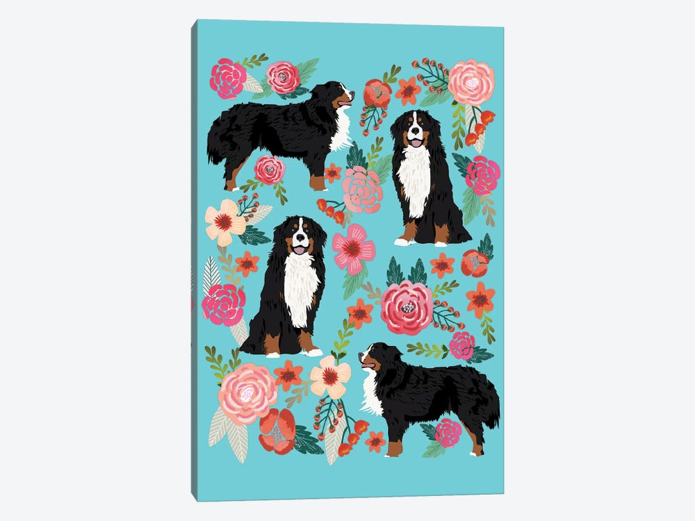 Bernese Mountain Dog Floral Collage by Pet Friendly 1-piece Canvas Artwork
