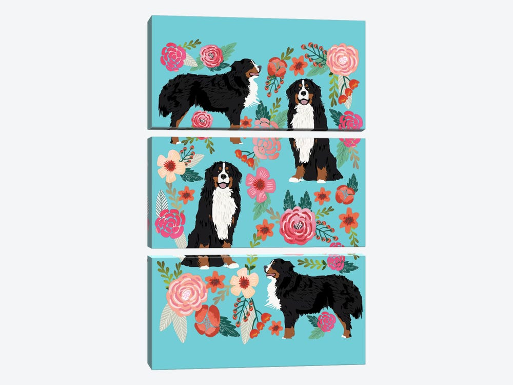 Bernese Mountain Dog Floral Collage by Pet Friendly 3-piece Canvas Wall Art