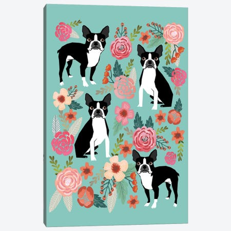 Boston Terrier Floral Collage I Canvas Print #PET14} by Pet Friendly Art Print