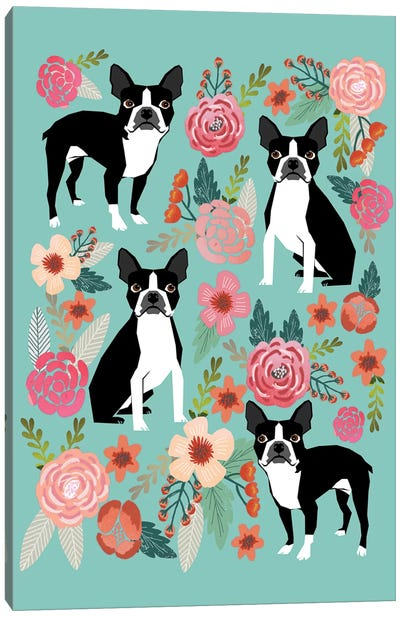 Boston Terrier Floral Collage I Canvas Art Print