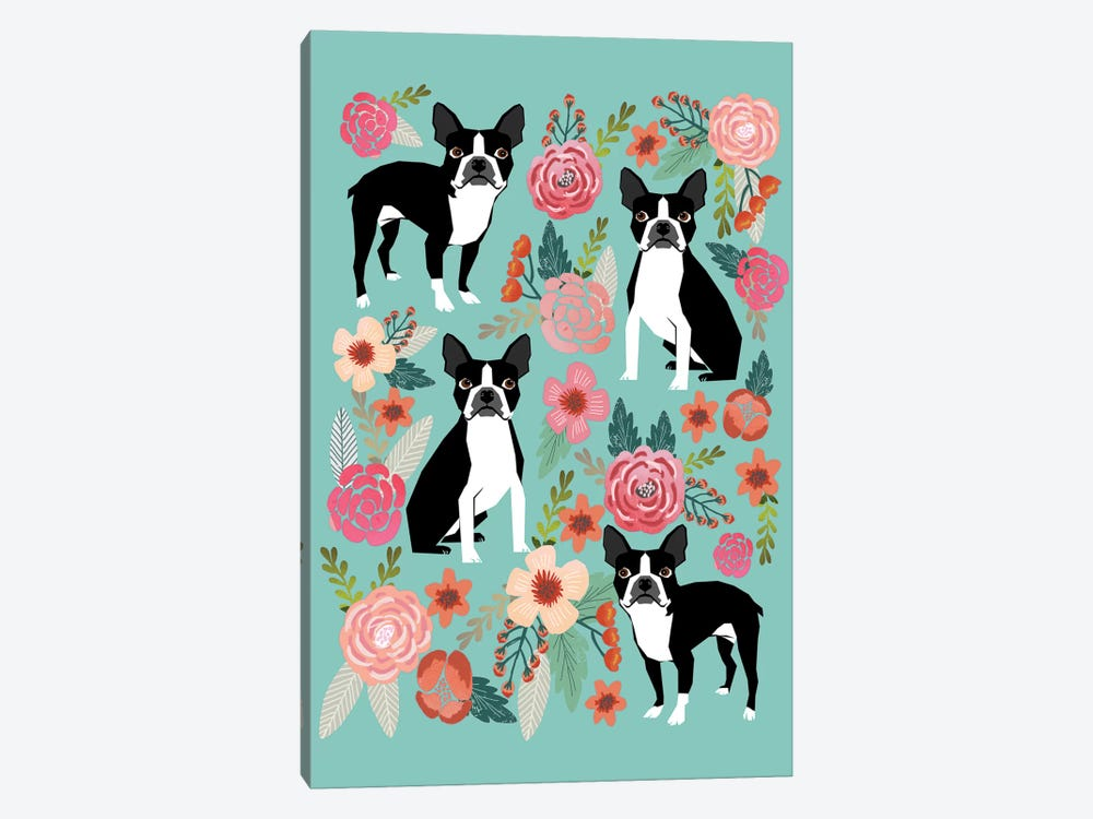 Boston Terrier Floral Collage I by Pet Friendly 1-piece Canvas Art Print
