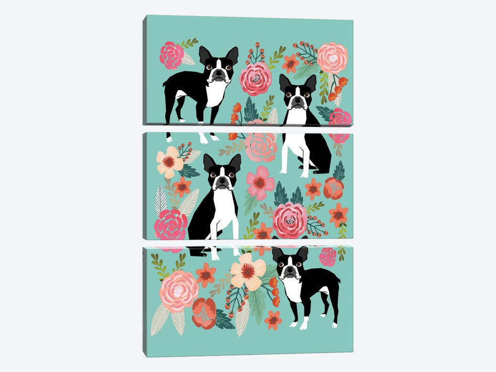 Boston Terrier Floral Collage I by Pet Friendly 3-piece Canvas Art Print