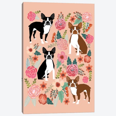 Boston Terrier Floral Collage II Canvas Print #PET15} by Pet Friendly Canvas Art Print