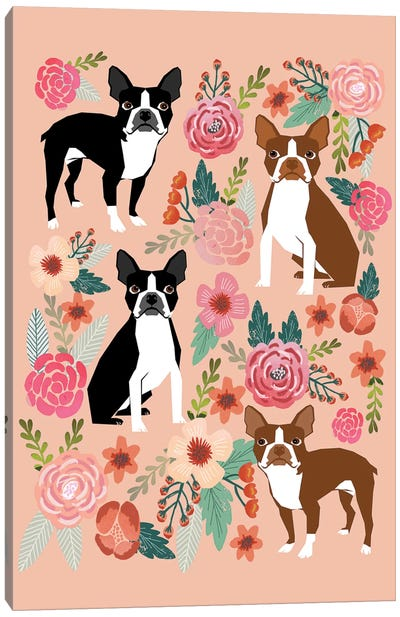 Boston Terrier Floral Collage II Canvas Art Print