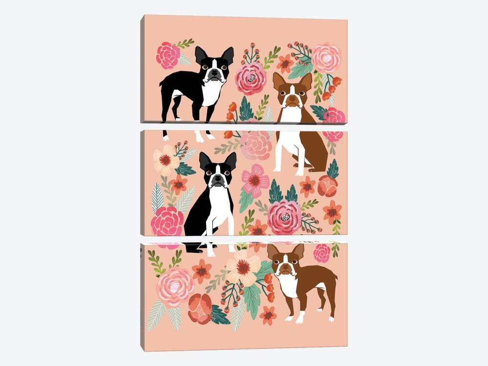Boston Terrier Floral Collage II by Pet Friendly 3-piece Canvas Artwork