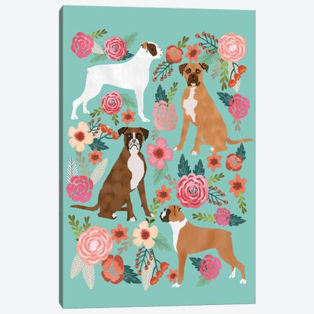 Boxer Floral Collage Canvas Print #PET16} by Pet Friendly Canvas Print