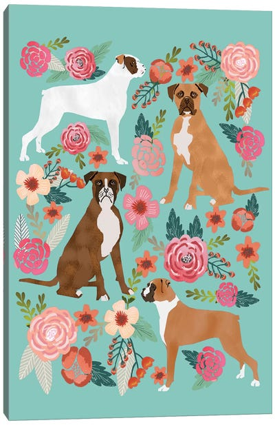 Boxer Floral Collage Canvas Art Print