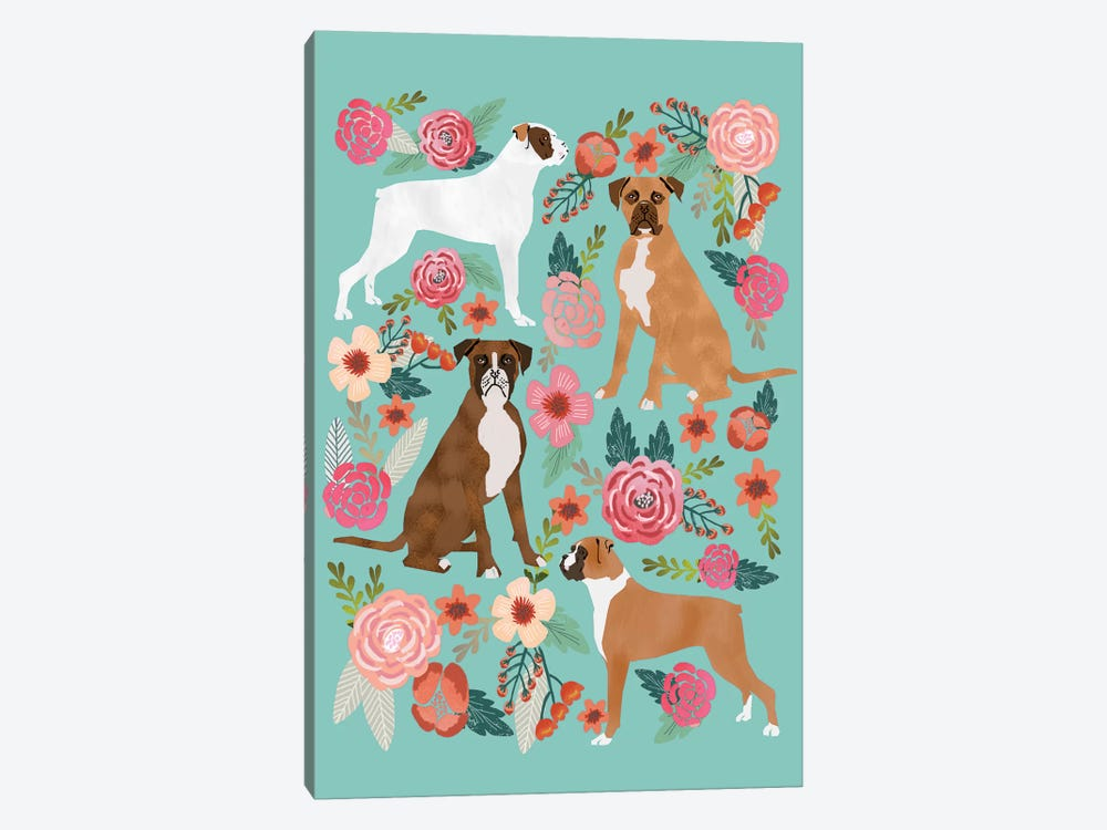 Boxer Floral Collage by Pet Friendly 1-piece Canvas Art Print