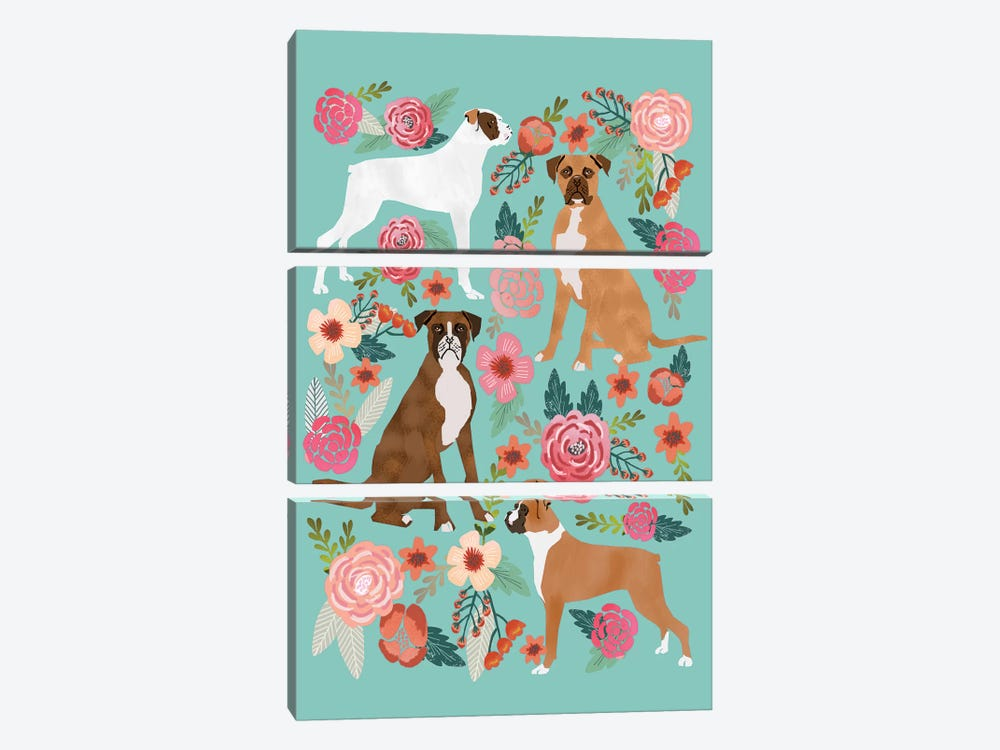 Boxer Floral Collage by Pet Friendly 3-piece Canvas Art Print