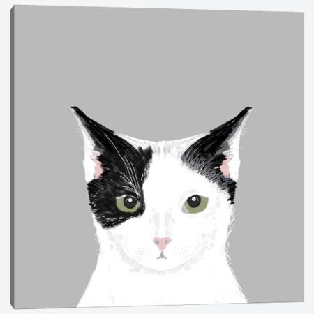 Cat (Black & White) Canvas Print #PET20} by Pet Friendly Art Print