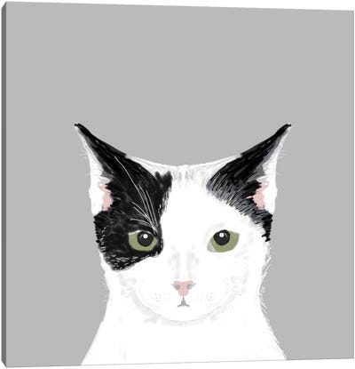 Cat (Black & White) Canvas Art Print