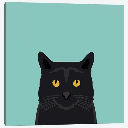 Cat (Black) Canvas Print #PET21} by Pet Friendly Canvas Art Print