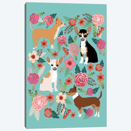 Chihuhua Floral Collage Canvas Print #PET25} by Pet Friendly Canvas Wall Art