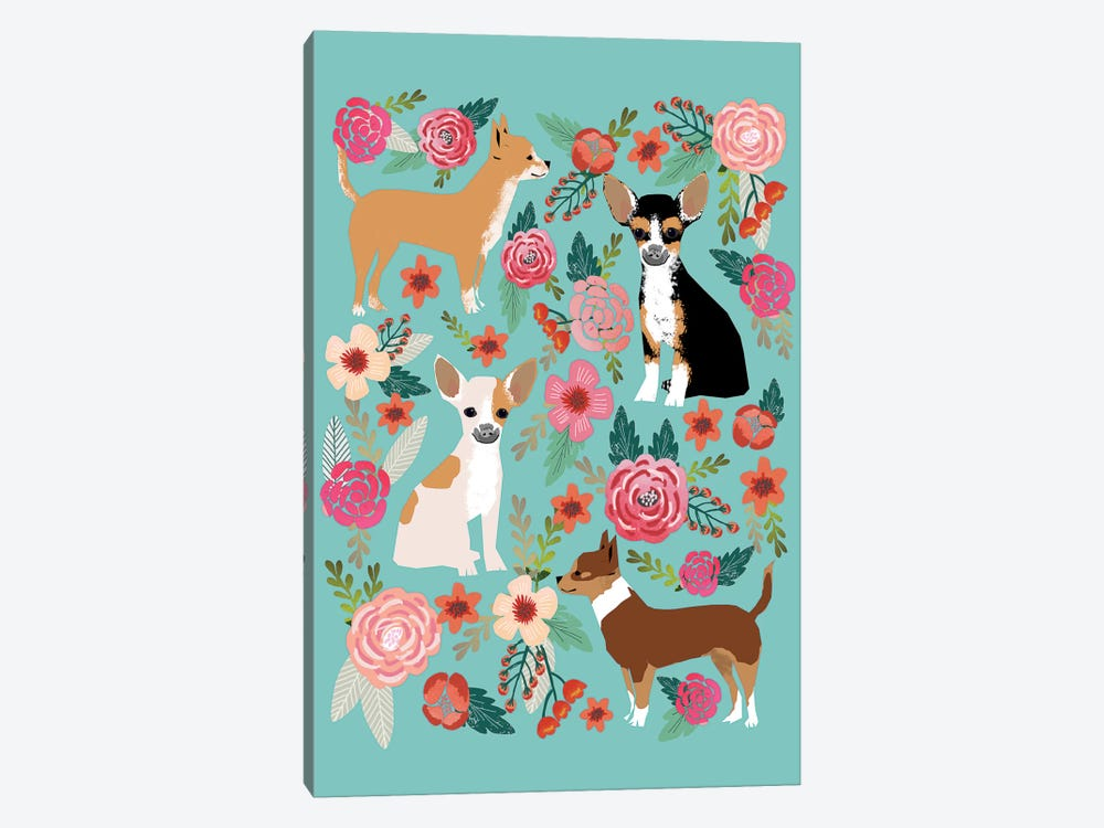 Chihuhua Floral Collage by Pet Friendly 1-piece Canvas Print