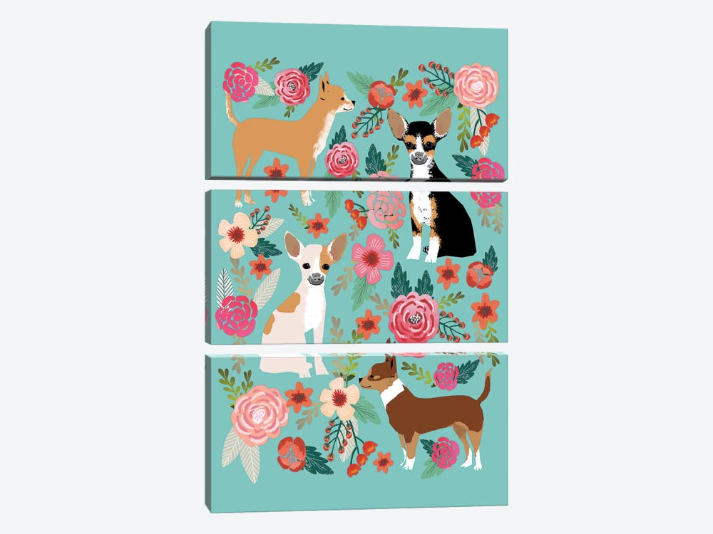 Chihuhua Floral Collage by Pet Friendly 3-piece Canvas Print