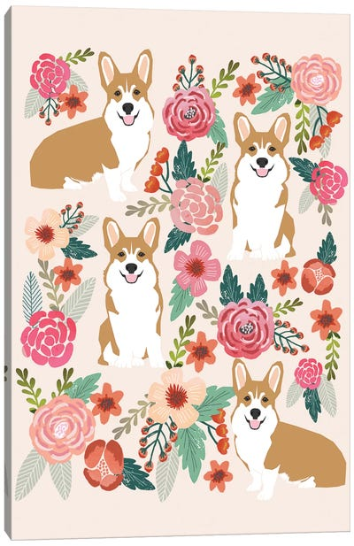 Corgi Floral Collage I Canvas Art Print