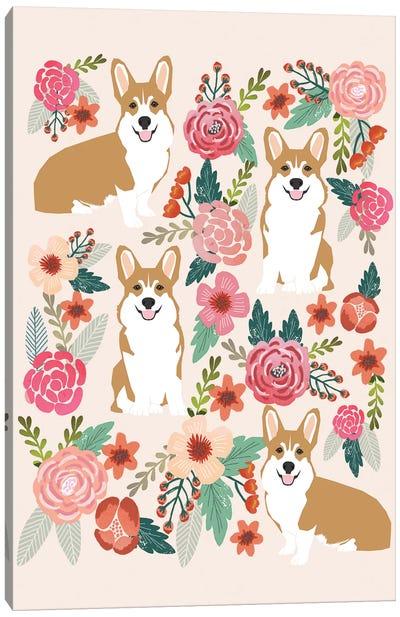 Corgi Floral Collage I Canvas Art Print