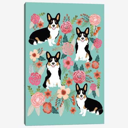 Corgi Floral Collage II Canvas Print #PET30} by Pet Friendly Canvas Artwork