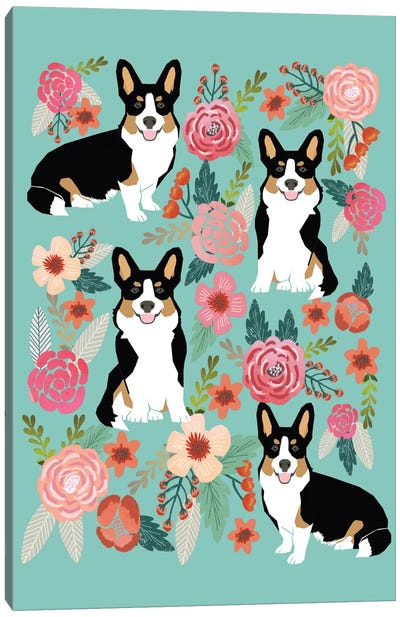 Corgi Floral Collage II Canvas Art Print