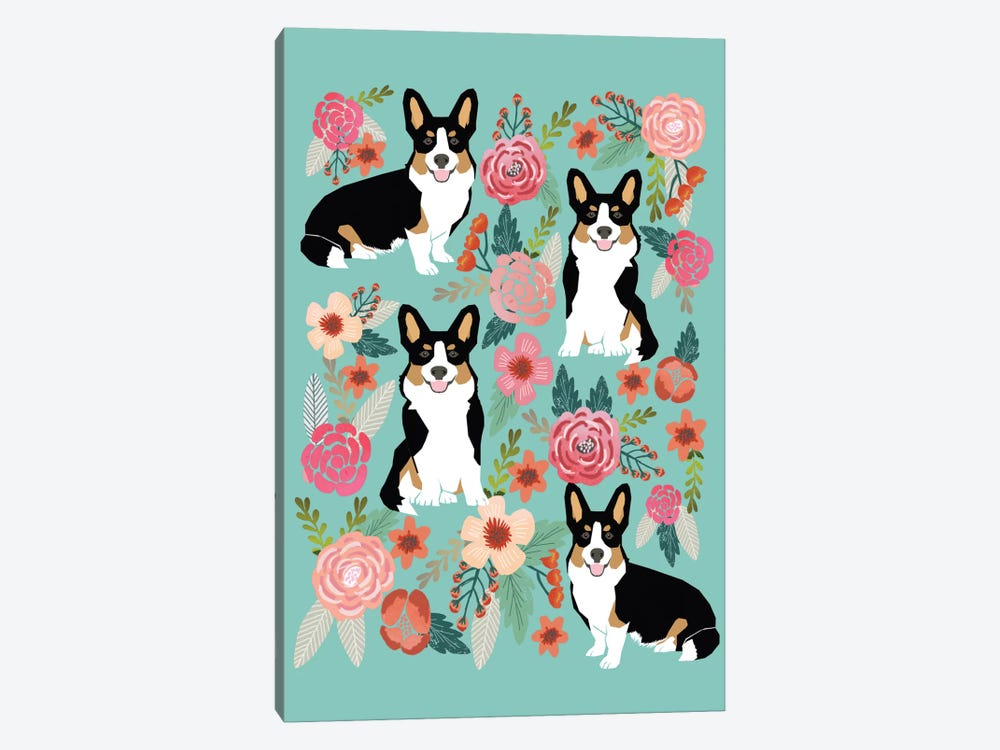 Corgi Floral Collage II 1-piece Canvas Art Print