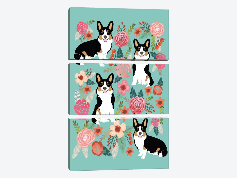 Corgi Floral Collage II by Pet Friendly 3-piece Canvas Print