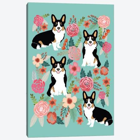 Corgi Floral Collage II 3-Piece Canvas #PET30} by Pet Friendly Canvas Artwork