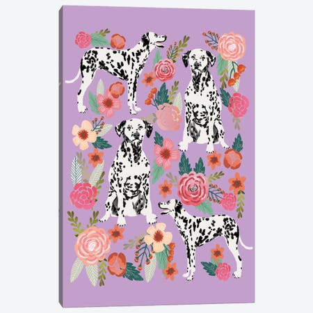 Dalmatian Floral Collage Canvas Print #PET34} by Pet Friendly Canvas Print