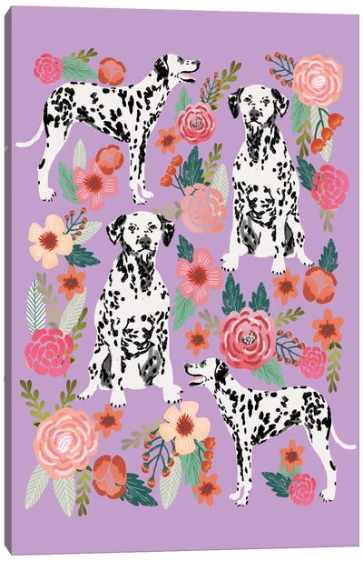 Dalmatian Floral Collage Canvas Art Print
