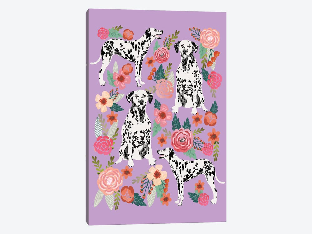 Dalmatian Floral Collage by Pet Friendly 1-piece Canvas Art Print