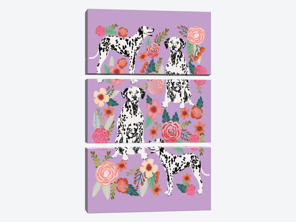 Dalmatian Floral Collage by Pet Friendly 3-piece Art Print